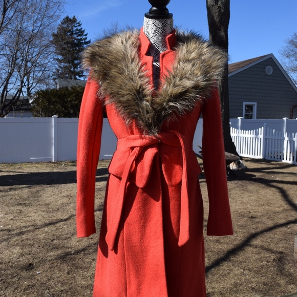 Tracy Reese Jackets & Blazers - Anthropologie Tracy Reese Orange Faux Fur Coat